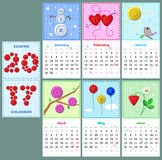 Sewing calendar 2017. Part 1 - cute sewing calendar 2017 with buttons, stitches and pathes on fabric texture Stock Image