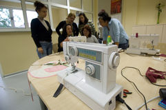 Sewing Class Participants Stock Photography