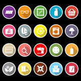 Sewing cloth related flat icons with long shadow Royalty Free Stock Photos