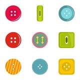 Sewing clothes button icon set, flat style. Sewing clothes button icon set. Flat set of 9 sewing clothes button vector icons for web isolated on white background Stock Photo