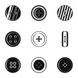 Sewing clothes button icon set, simple style. Sewing clothes button icon set. Simple set of 9 sewing clothes button vector icons for web isolated on white Stock Photos