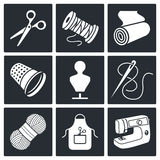 Sewing clothing manufacture icon collection Stock Images