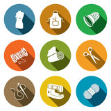 Sewing clothing manufacture icon collection Royalty Free Stock Photos