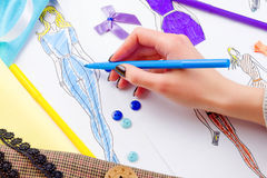 Sewing concept. Dressmaker royalty free stock image
