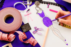 Sewing concept. Dressmaker Royalty Free Stock Photo