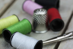 Sewing cotton needle and pins Stock Photography