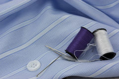 Sewing cotton needle and pins Royalty Free Stock Photos