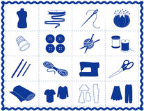 Sewing & Craft Icons, Blue Silhouette. Icons for sewing, tailoring, dressmaking, needlework, quilting, darning, textile arts, crafts & do it yourself projects in Stock Photography