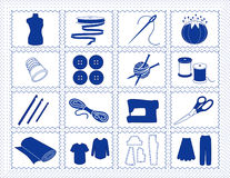 Sewing & Craft Icons, Blue Stitchery. Icons for sewing, tailoring, dressmaking, needlework, quilting, darning, textile arts, crafts & do it yourself projects in Stock Images
