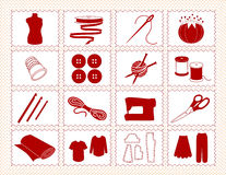 Sewing & Craft Icons, Stitchery Frame. Icons for sewing, tailoring, dressmaking, needlework, quilting, darning, textile arts, crafts & do it yourself projects in Stock Photos
