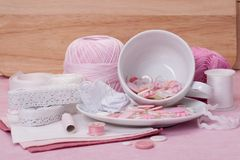 Sewing Craft Kit. Tailoring Hobby Accessories.  Stock Photo