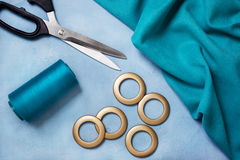 Sewing curtains with rings Stock Image