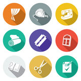 Sewing curtains service Icons Set. Vector Illustration. Stock Photo