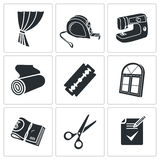 Sewing curtains service Vector Icons Set Stock Images