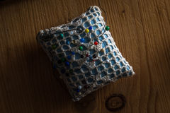 Sewing cushion with colored pins Royalty Free Stock Image