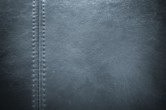 Sewing dark blue leather texture background Royalty Free Stock Images