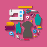 Sewing design concept set style flat. Vector. Set for sewing with a sewing machine, a mannequin, sewing accessories, with diagonal shadows. Vector illustration Stock Images