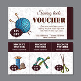 Sewing discount. Voucher for your business in sketch style. Modern template with sewing devices. Royalty Free Stock Photography