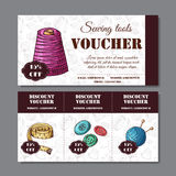 Sewing discount. Voucher for your business in sketch style. Modern template with sewing devices. Stock Photo