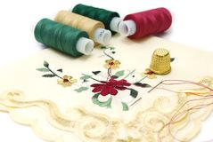 Sewing do lenço Imagem de Stock