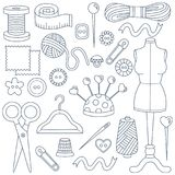 Sewing doodle icons set Stock Photo