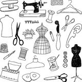 Sewing doodles. Vector image of the doodles of a theme of a sewing stock illustration