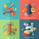 Sewing dress, accessories, hand made icons Royalty Free Stock Images