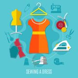 Sewing A Dress Concept. With iron zip and cloth flat vector illustration Stock Image