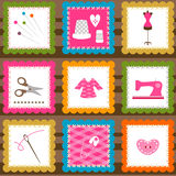 Sewing elements. Background for little girls Royalty Free Stock Images