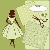 Sewing elements with womans silhouette Royalty Free Stock Photography