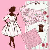 Sewing elements with womans silhouette Stock Photos