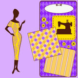 Sewing elements with womans silhouette Stock Image