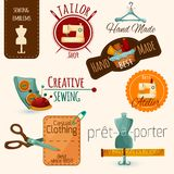 Sewing Emblems Set Stock Photography