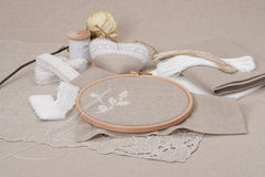 Sewing And Embroidery Craft Kit. Dried Rose. Stock Photos