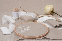Sewing And Embroidery Craft Kit. Dried Rose. Royalty Free Stock Photography