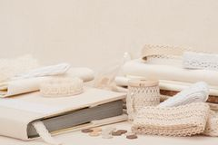 Sewing And Embroidery Craft Kit. Natural Linen Royalty Free Stock Photo