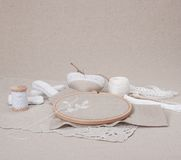 Sewing And Embroidery Craft Kit. Natural Linen. Background stock photos