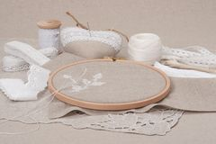 Sewing And Embroidery Craft Kit. Natural Linen Royalty Free Stock Photos