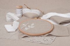 Sewing And Embroidery Craft Kit. Natural Linen Stock Photo