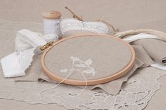 Sewing And Embroidery Craft Kit. Natural Linen Stock Images