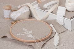 Sewing And Embroidery Craft Kit. Natural Linen Stock Image