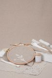 Sewing And Embroidery Craft Kit. Natural Linen Stock Photos