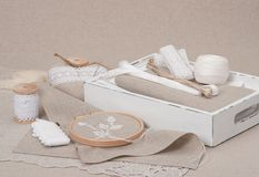 Sewing And Embroidery Craft Kit. Natural Linen. Background Royalty Free Stock Photos