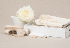 Sewing And Embroidery Craft Kit. Tailoring Accessories.  Royalty Free Stock Photos
