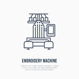 Sewing embroidery machine flat line icon, logo. Vector illustration of tailor supplies for hand made shop or dressmaking Royalty Free Stock Photo