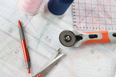 Sewing equipment background Stock Photos