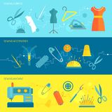 Sewing equipment banner flat Stock Images