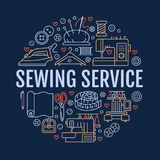 Sewing equipment, hand made studio supplies banner illustration. Vector line icon needlework accessories - sewing Royalty Free Stock Photos
