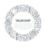 Sewing equipment, hand made supplies banner illustration. Vector line icon needlework accessories - sewing machine Stock Photography