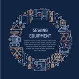Sewing equipment, hand made supplies banner illustration. Vector line icon needlework accessories - sewing machine Royalty Free Stock Photography